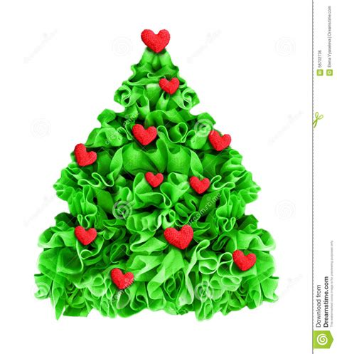 christmas tree decorated red hearts isolated on white