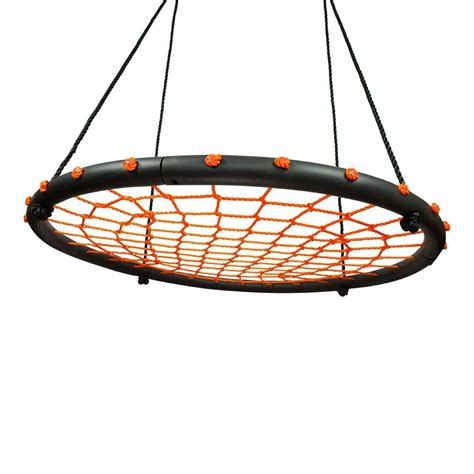 round swing 100cm orange round web nest swing free tree straps ebay