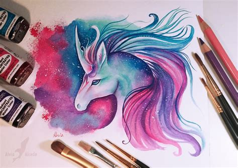 system drawing color space unicorn color pencil drawing by alvia alcedo 12