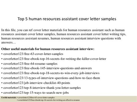 human resource assistant cover letter top 5 human resources assistant cover letter sles