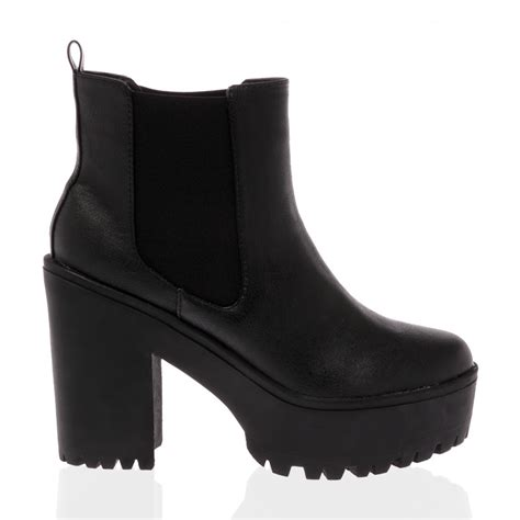 shay black cleated sole chelsea boots