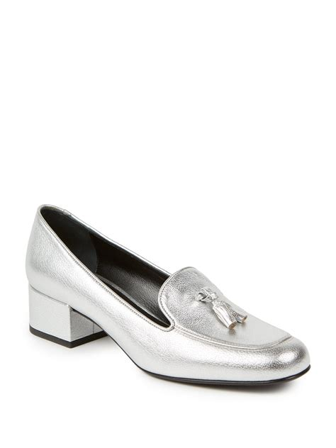 silver loafers metallic lyst laurent metallic leather loafers in metallic