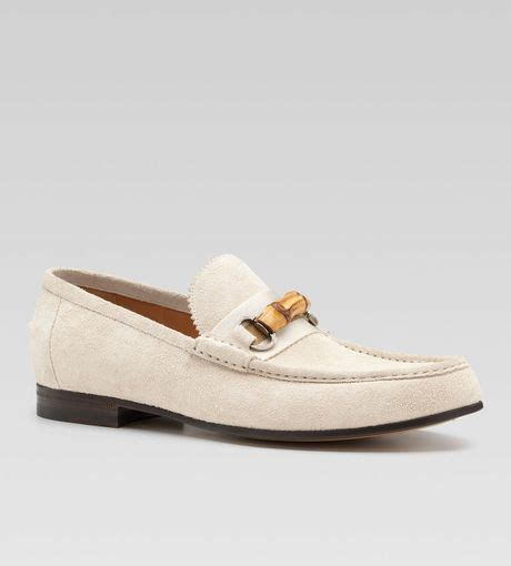 mens white gucci loafers gucci suede bamboo horsebit web loafer in white for