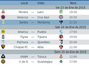 Calendario De La Liga Española 2016 2017 Calendario Juegos Jornada 3 Futbol Mexicano Clausura 2015