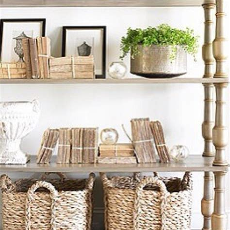organic home decor neutral styling wicker wood baskets greenery
