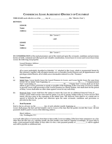 free printable rental agreement washington state washington dc commercial lease agreement legalforms org