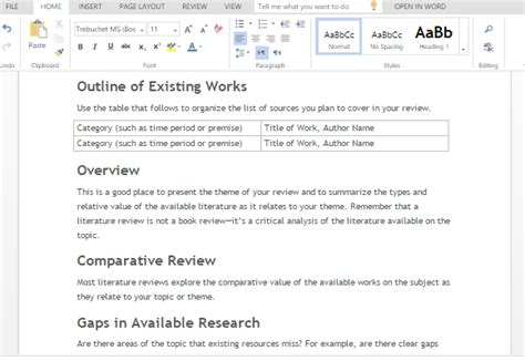 Literature Review Report Template Literature Review Template For Word