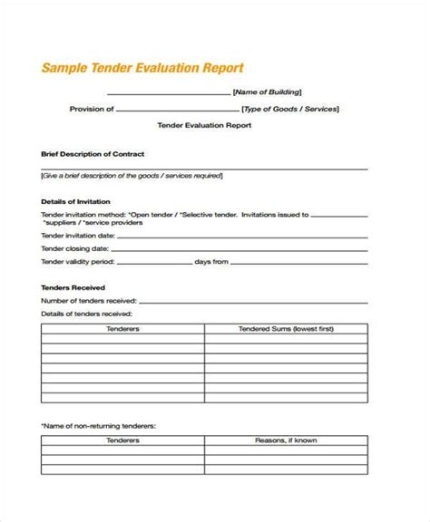 tender evaluation report template 7 contractor evaluation form sles free sle
