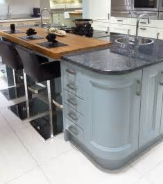kitchen island with granite top and breakfast bar contemporary kitchen island design in blue with curved units inset wooden breakfast bar and
