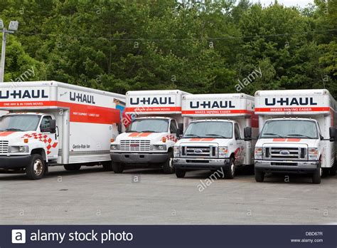 truck maine u haul trucks are lineup in a parking lot in maine stock
