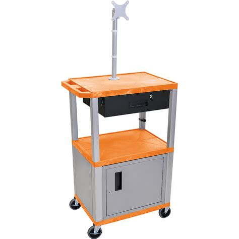 luxor cart with locking cabinet luxor 42 quot a v cart with monitor mount 3 wt42orc4me n wtd