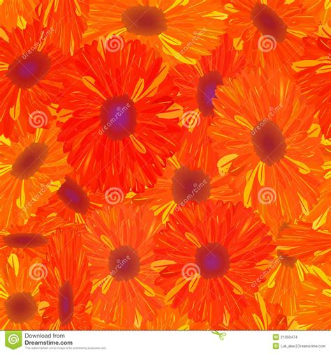 pattern yellow and orange seamless pattern yellow orange flower stock illustration