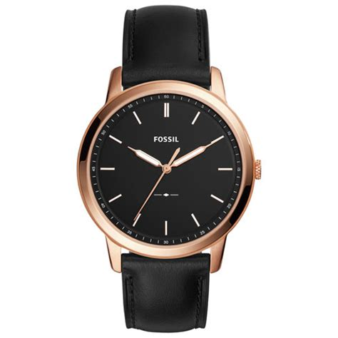 Fossil M1157 Rosegold Black Leather fossil minimalist 44mm s analog casual with leather black gold mens