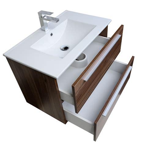 buy nola 29 5 quot wall mount modern bathroom vanity walnut tn
