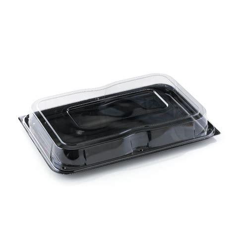 Ds22c Large Rectangular Black Buffet Tray Lid Combo Plastic Buffet Platters