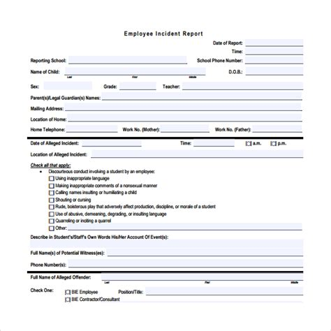 employee incident report template sle employee incident report template 16 free