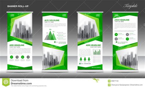 layout banner web roll up banner stand template design green banner layout