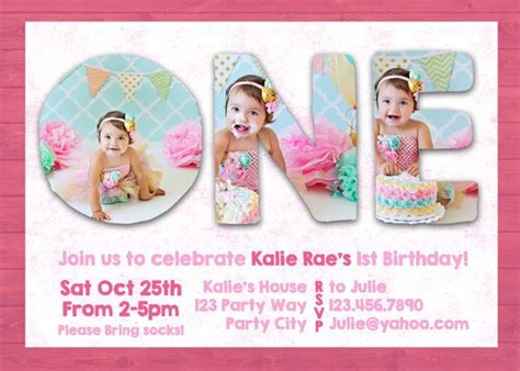 Free1st Birthday Wording For 99 162 Invitations Photoshop Template 1st One Birthday Invite Invitation Card Photography Photo Photographer