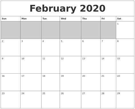 Blank Calendar Printable February 2020 Blank Printable Calendar