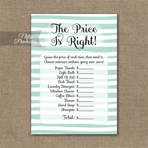 printable price is right bridal shower game price is right bridal shower game mint drawn stripe