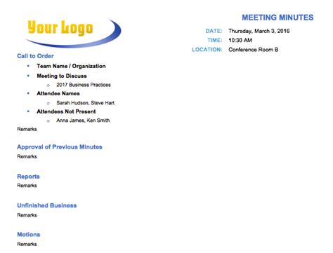 Free Meeting Minutes Template For Microsoft Word How To Run A Meeting Template