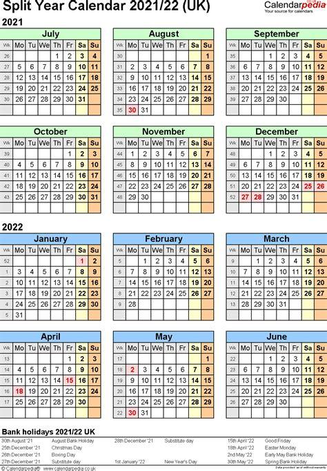 split year calendars  july  june   uk version