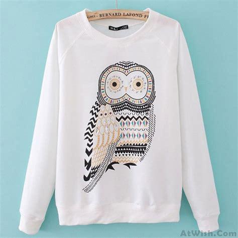 Printed Sleeve Sweater fashion rhinestone owl printed sleeve sweater sweaters