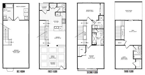 narrow row house plans