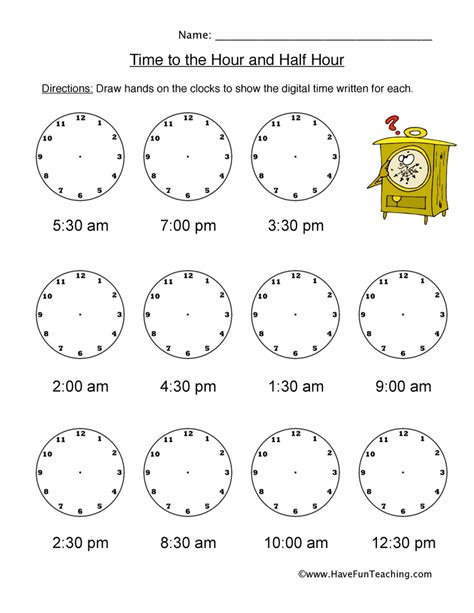 clock worksheets hour and half hour telling time worksheets page 2 of 4 have fun teaching
