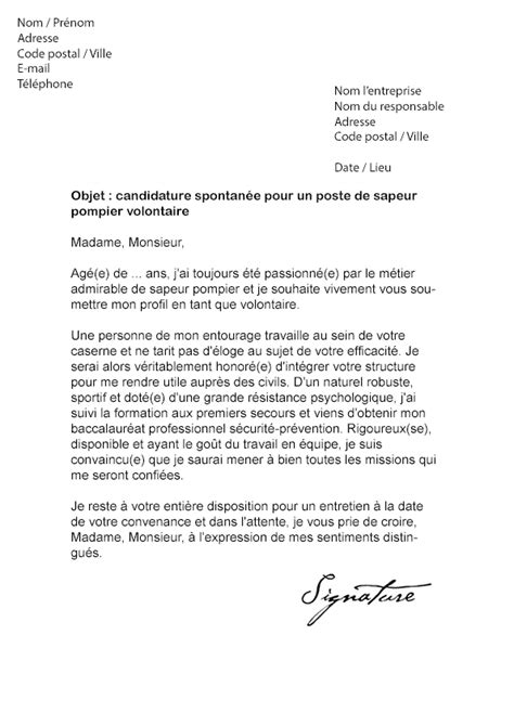 Lettre De Motivation De Pompier Volontaire Lettre De Motivation Sapeur Pompier Volontaire Mod 232 Le De