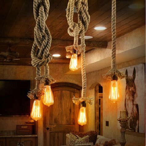 Living Room Rope Lighting Vintage Rope Pendant Lights Loft Diy Handmake Rope