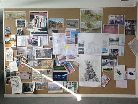 layout scrapbook for architectural drawings on the wall