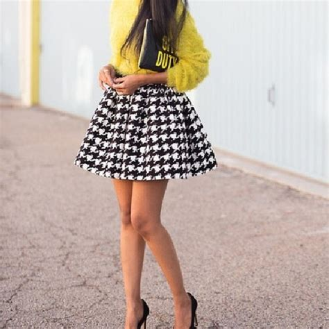 skirt black and white fashion style high high waisted