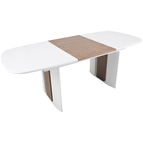 halo white high gloss solid walnut wood hide leaf extension dining table mix