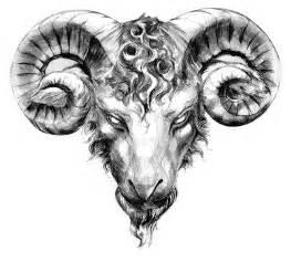 aries taurus tattoo of ram head big bull horns just