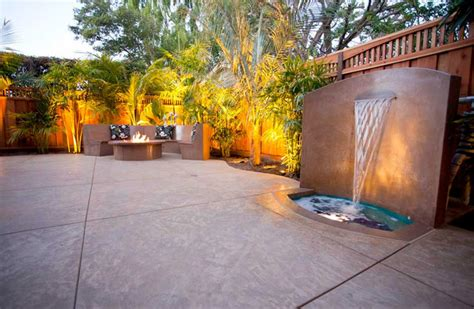 hawaiian style decorative concrete patio w waterfall