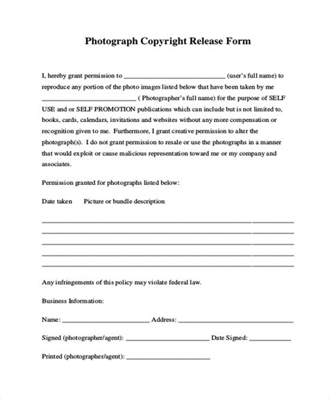 photo copyright release form template sle photo release form 11 free documents in pdf