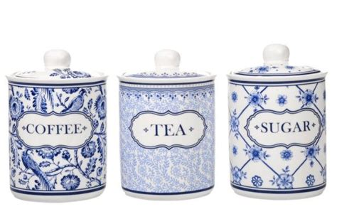 coffee tea sugar canisters blue and white pottery