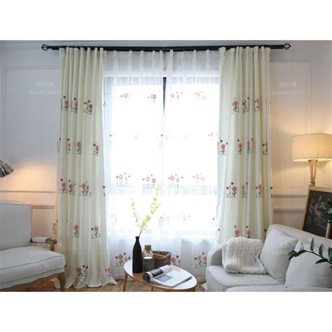 long living room curtains white floral embroidery linen cotton blend long living