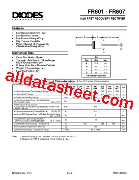 diode data sheets free fr605 datasheet pdf diodes incorporated