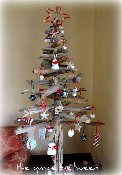 diy driftwood christmas tree with homemade ornaments