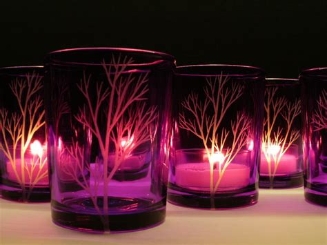 12 purple candle holders engraved glass tree