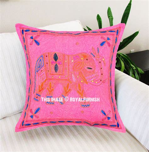 Handcrafted Pillows - pink handcrafted embroidered accent elephant pillow