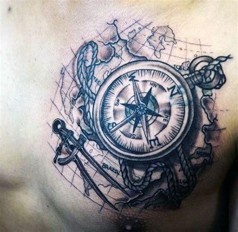 tattoo compass mit karte sch 246 ner schwarzer gro 223 er kompass mit karte tattoo an der