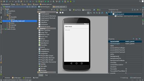 android studio layout id android hello world application tutorial using android