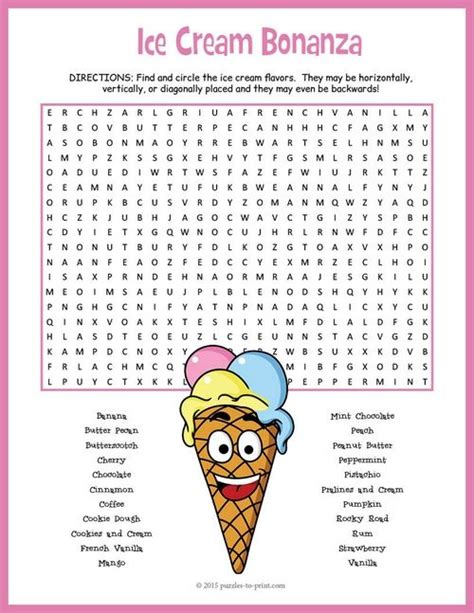 printable ice cream word games 54 best images about kid word search on pinterest