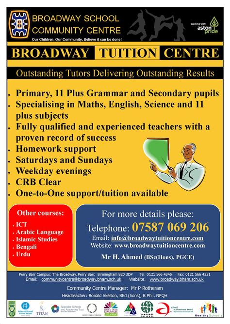leaflet design for tuition community broadway academy the broadway perry barr