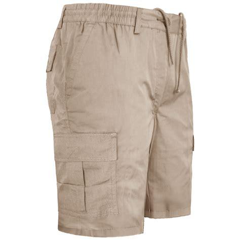 new mens chino elastic waist slim fit shorts cotton casual