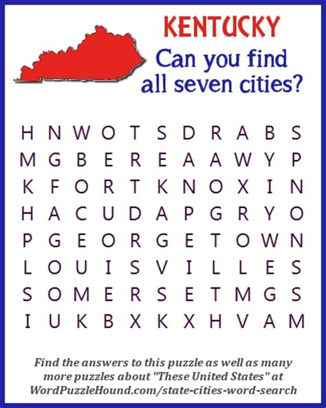Of Kentucky Search State Of Kentucky Cities Word Search Word Puzzle Hound