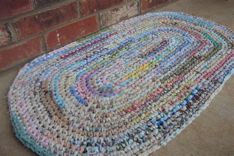 crocheted rug rag rug shabby boho vintage decor